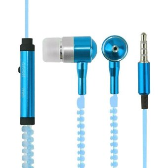 leegoal In-ear Metal Bass Zipper Earphone Headset With MIC 3.5mm(Blue) - intl