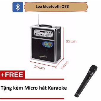 Loa kéo di động Bluetooth kèm mic hát karaoke, trợ giảng Q78