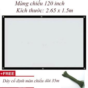 Màn chiếu Văn phòng 120 inch 2.65 x 1.5 m+ Dây cố định màn chiếu 35m