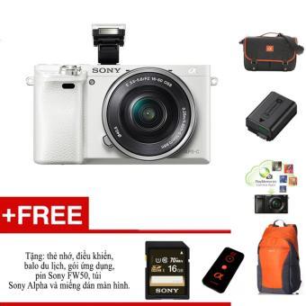 Máy ảnh Sony A6000 + ống kính 16-50 - Màu trắng - tặng thẻ nhớ, túi, balo, miếng dán màn hình, điều kiển,pin Sony FW50 và gói phần mềm.