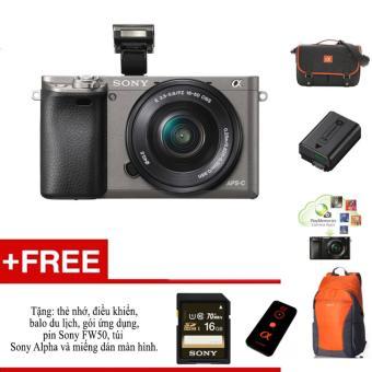 Máy ảnh Sony A6000 + ống kính 16-50 - Màu xám - tặng thẻ nhớ, túi, balo, miếng dán màn hình, điều kiển,pin Sony FW50 và gói phần mềm.