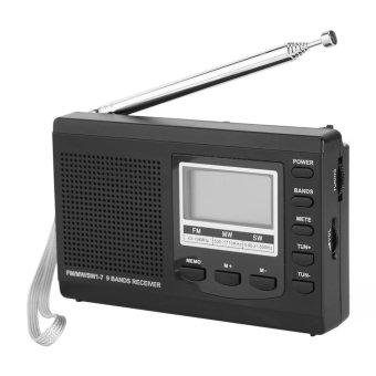 Máy Radio FM / MW / SW Mini xách tay với đồng hồ kỹ thuật số (xám) - Quốc tế - 2