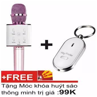 Mic hát Karaoke kiêm Loa bluetooth Q7 + Móc khóa huýt sáo thông minh (Blueberry)
