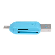 Trang bán Mini TF/SD Card Reader with USB/Micro USB Port OTG Function for Smart Phone (Blue) – intl