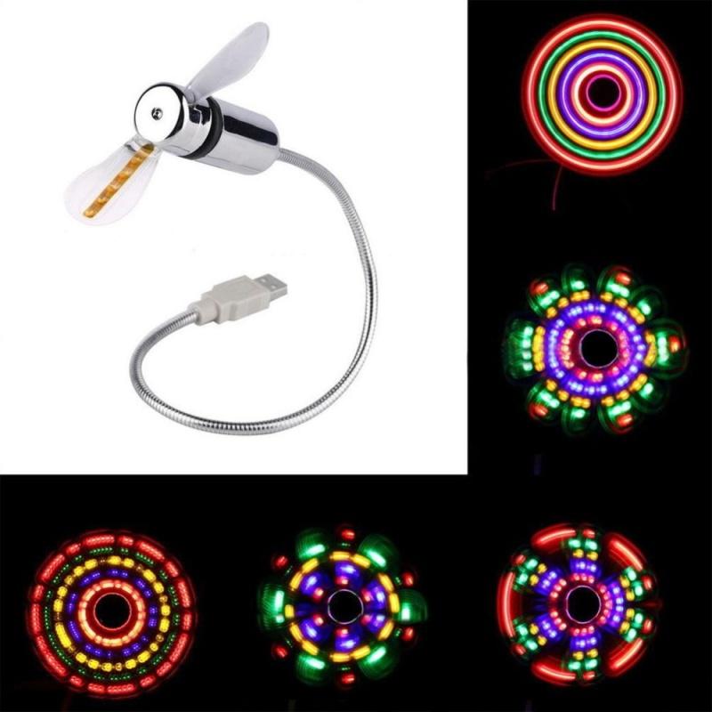Bảng giá Moonar Computer Notebook Mini USB Flexible Gooseneck LED Fan Colorful Light For PC Laptop - intl Phong Vũ