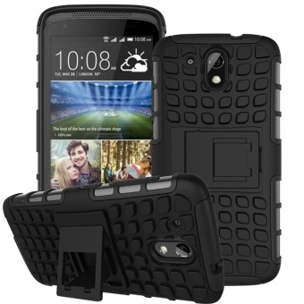 Mooncase Case For HTC Desire 526G+ Detachable 2 in 1 ShockproofTough Rugged Prevent Slipping Dual-Layer Case Cover With Built-inKickstand Black - intl