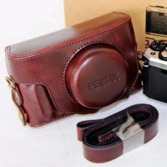 PU Leather Camera Bag Case Cover Pouch with Shoulder StrapforPentax MX1 - intl