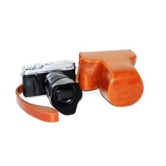 PU Leather Camera Case Bag Cover for Fujifilm X-E1 X-E2 Brown - intl