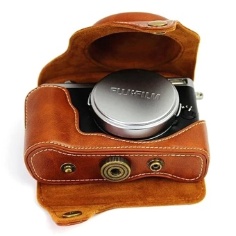 PU Leather Camera Case Bag Cover for Fujifilm X70 Brown  -intl