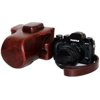 PU Leather Camera Case Cover Bag Pouch for Fuji XT1 with Strap(Brown) - intl