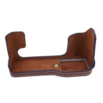 PU Leather Half Camera Case Bag Cover Base for FujifilmXT10(Coffee) - intl
