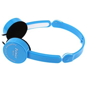 Retractable Foldable Kids Headband Earphone with Mic Stereo Bass(BLUE) - intl