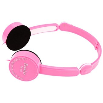 Retractable Foldable Kids Headband Earphone with Mic Stereo Bass(Pink) - intl