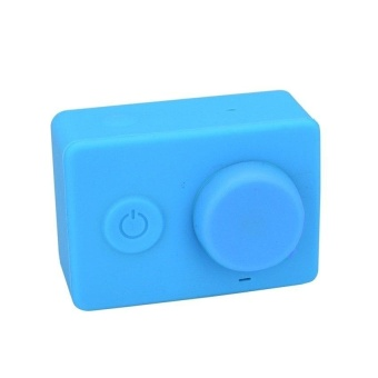 Rubber Skin Protective Housing Cover With Lens Cap Blue ForxiaomiyiAction Camera - intl