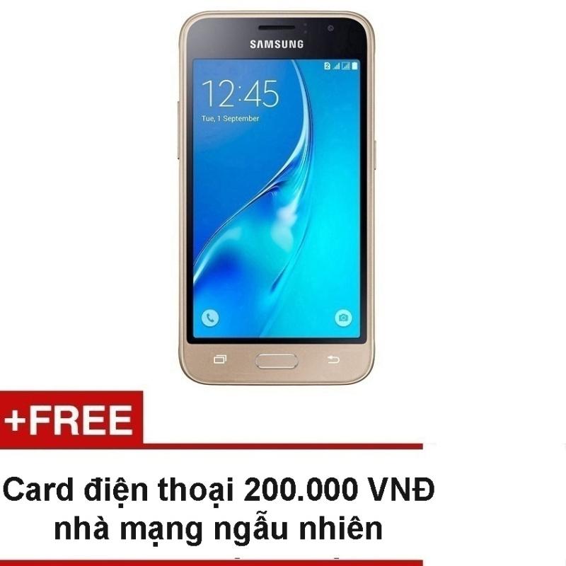 Samsung Galaxy J1 2016 8GB 2 SIM (Vàng) - Hàng phân phối chính thức+ Tặng kèm Card điện thoại 200.000 VNĐ nhà mạng ngẫu nhiên