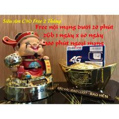 Mẫu sản phẩm Sim 10 số 4G MOBI C90 Chuẩn Gold. Tặng 62GB và 43.000 phút miễn phí/tháng.
