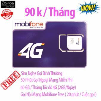 Sim 3G 4G Mobifone 60Gb/Tháng Nghe Gọi Miễn Phí Nội Mạng Ngoại Mạng 50 Phút