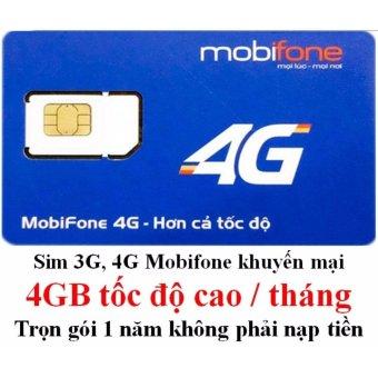 Sim 3G, 4G MobiFone Miễn Phí Trọn Gói 1 Năm (4GB/tháng)
