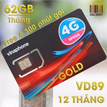 SIM 3G / 4G VD89 Vinaphone 60GB/Tháng + 4300 phút gọi