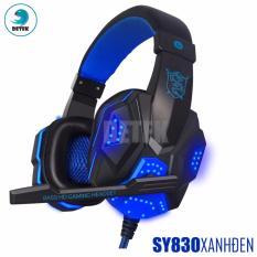 Tai nghe chụp tai có dây game thủ Soyto SY830 có Microphone có đèn LED (Đen Xanh Dương)