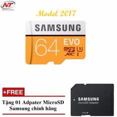 Thẻ Nhớ MicroSDHC Samsung Evo 64gb UHS-I U3 100MB/s - Model 2017 (Cam) + Tặng MicroSD Adapter Samsung chính hãng
