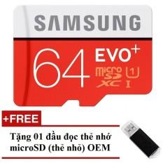 Thẻ nhớ MicroSDHC Samsung Evo Plus 64GB 80MB/s (Đỏ) + Tặng 01 đầu đọc thẻ nhớ MicroSD OEM