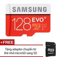 Thẻ nhớ MicroSDXC Samsung EVO Plus 128GB 80MB/s (Đỏ) +Tặng 1 adapter chuyển từ thẻ nhớ microSD sang SD