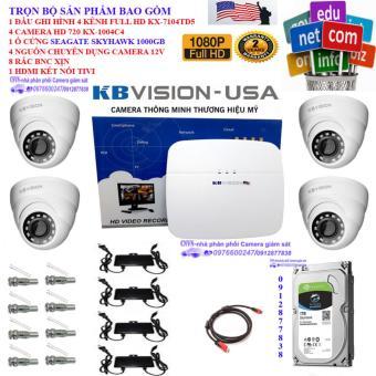 Trọn bộ 1 đầu ghi hình 4 kênh KBVISION KX-7104TD5+ 4 Camera KBVISION KX-1004C4+1 ổ cứng CHUYÊN DỤNG SEAGATE SKYHAWK 1000GB+4 nguồn 12V+8 Rắc BNC+1 dây HDMI