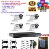 Hình ảnh Trọn bộ 1 đầu ghi hình Camera 4 kênh cao cấp DS-7204HGHI-F1+ 4 Camera HD DS-2CE16C0T-IRP+1 ổ cứng Seagate 500GB+4 Nguồn nhện xịn 12V+8 Rắc BNC+1 dây HDMI