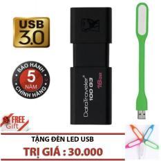 USB 3.0 16GB Kingston DataTraveler 100 G3 (Đen) – Hãng Phân phối chính thức + Tặng đèn Led USB