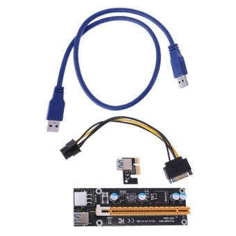 USB 3.0 PCI-E Express 1x Extender Riser Card Adapter 6PIN PowerCable - intl