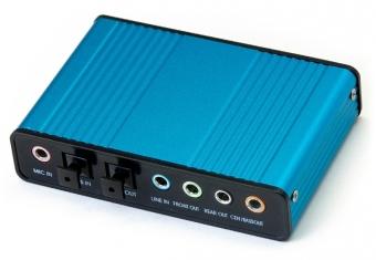 USB điều khiển âm thanh China Card Sound box 5.1 (Xanh)