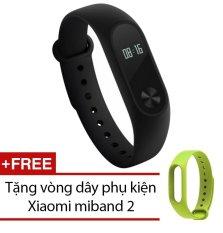 Vòng đeo tay Xiaomi Miband 2 (Đen) + Tặng dây đeo Xiaomi miband 2 (Xanh lá)