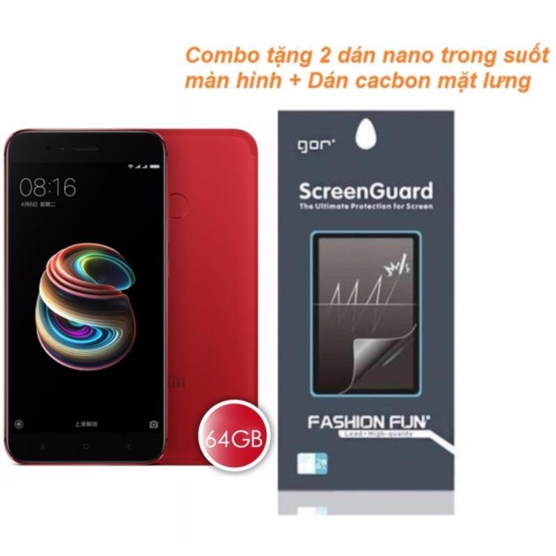 Xiaomi Mi5X 64GB 4GB Ram (Đỏ) + 2 Dán Nano màn hình + Dán cacbon mặt lưng - Hàng nhập khẩu