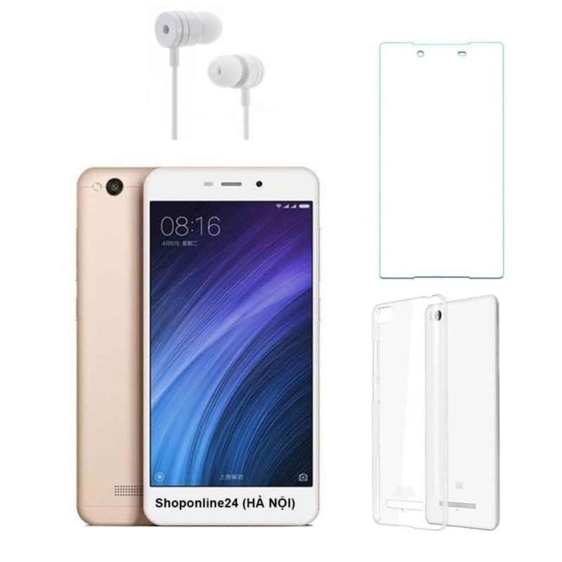 Xiaomi Redmi 4A 16G (Vàng) + Ốp lưng + Kính cường lực + Tai nghe - Hàng nhập khẩu