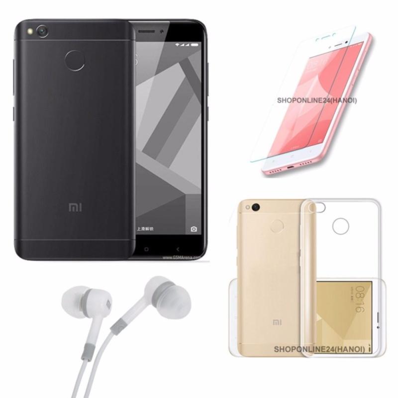 Xiaomi Redmi 4X 16GB (Đen tuyền) + Ốp Lưng + Kính Cường Lực + Tai Nghe - Hàng nhập khẩu