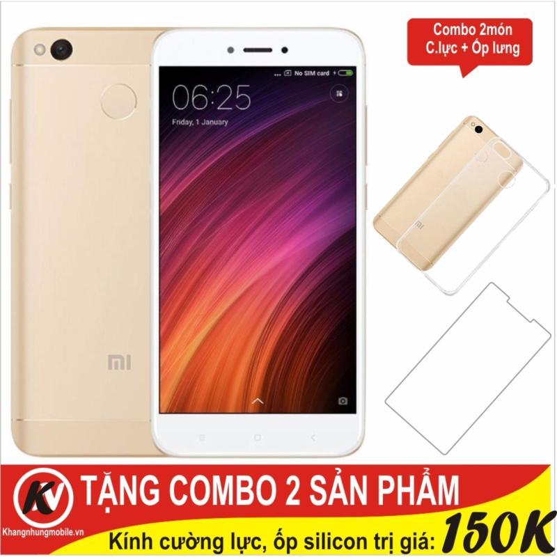 Xiaomi Redmi 4X 16GB Ram 2GB Khang Nhung (Vàng) + Cường lực + Ốp silicon trong suốt - Hàng nhập khẩu