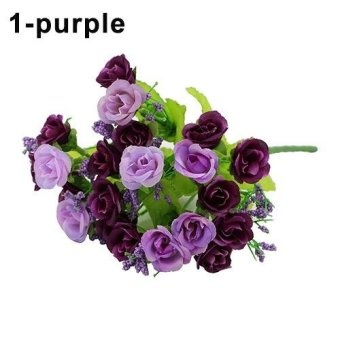 1 Bouquet 21 Colorful Head Artifical Fake Rose color:Purple - intl