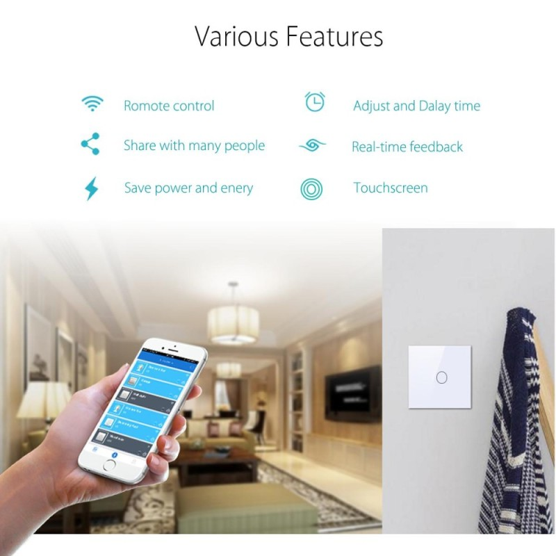 Bảng giá 1 gang 1 way WIFI Smart Wall Light Remote Control Switch For Amazon Alexa Echo - intl