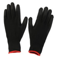 1 Pair PU Palm Coated Protective Safety Anti Static Work Worker Gloves Builders S (Black) (Intl)