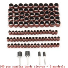 100pcs 1/2 3/8 Drum Sanding Sleeves Kit Sandpaper Rubber 4Mandrels Fit Dremel - intl