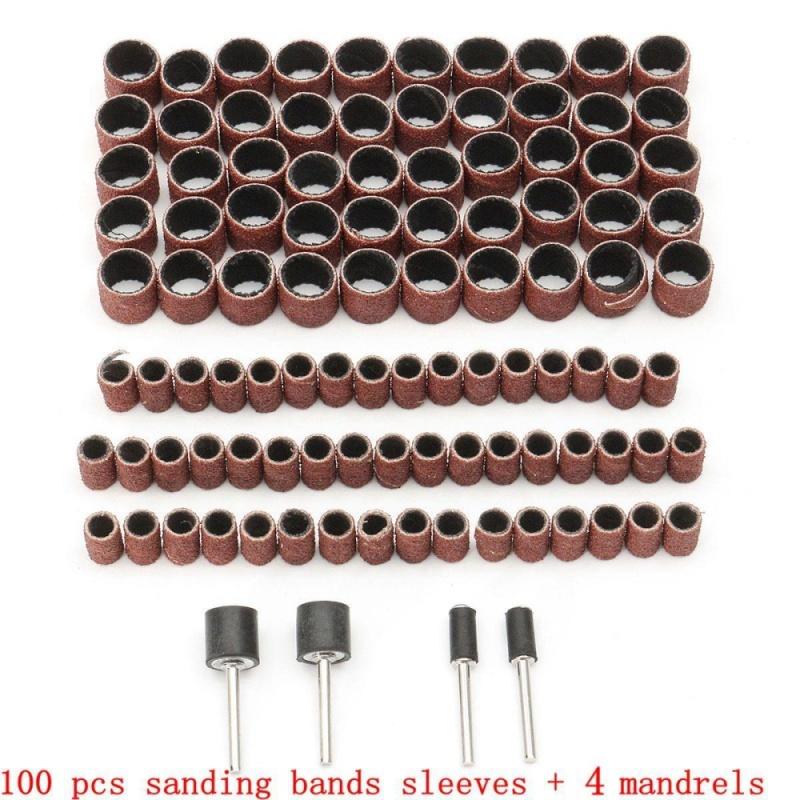 100pcs 1/2 3/8 Drum Sanding Sleeves Kit Sandpaper Rubber 4Mandrels Fit Dremel - intl