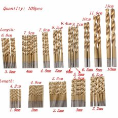 100PCS Titanium Coated Metal HSS High Speed Steel Drill Bit Set 1.5mm-10mm Kit - intl