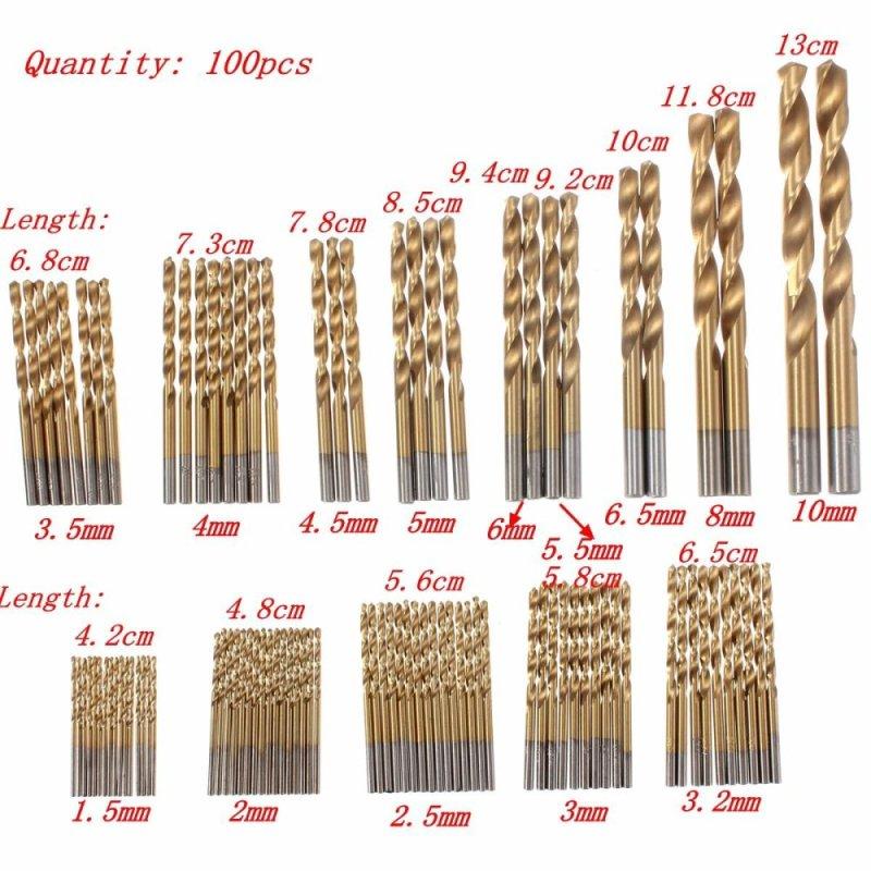 100PCS Titanium Coated Metal HSS High Speed Steel Drill Bit Set 1.5mm-10mm Kit - intl