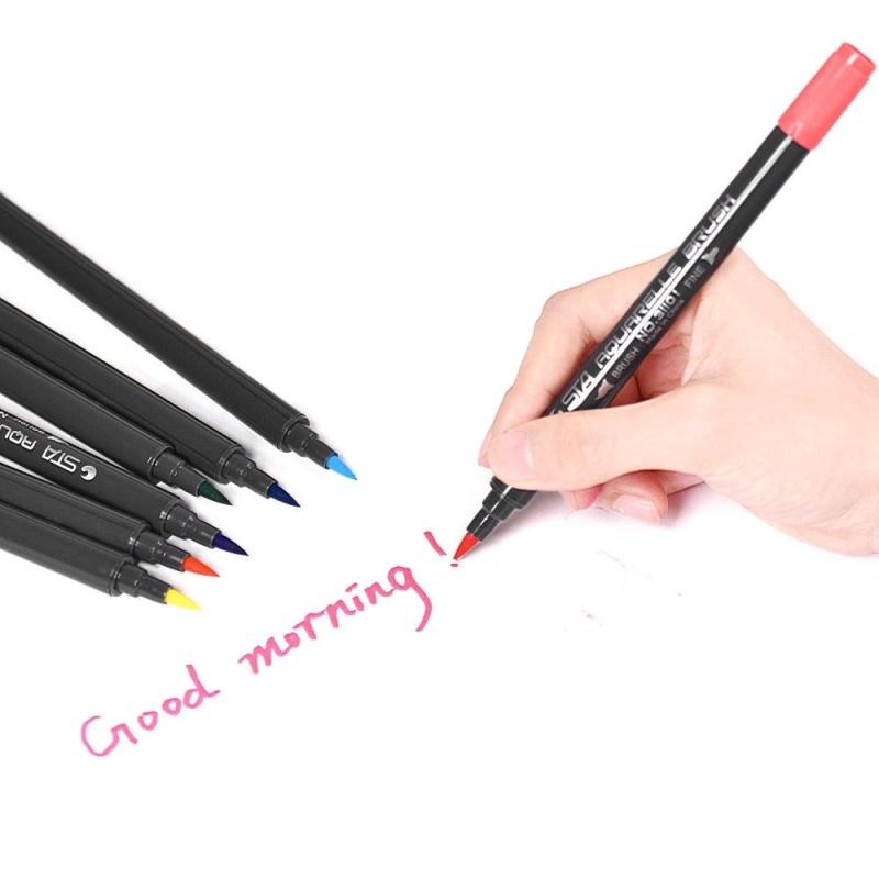 Mua 12 Colors/ Set Marker Marking Pen Twin Tip Brush Sketch Pens Water Based Ink for Graphic Manga Drawing Designing - intl