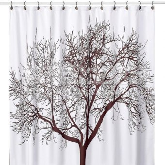 12 Hooks 180x180cm Waterproof Shower Curtain With Tree Design - intl