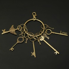 12 Vtg old skeleton key lot pendant heart bow lock steampunk jewelry & 1keychain - intl