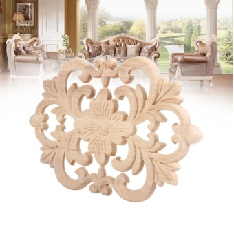 1Pc Wood Carved Onlay Applique Unpainted Furniture for Home Door Cabinet Decoration (22 x 14cm) - intl