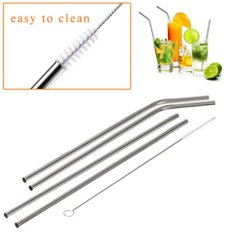 1Pcs Stainless Steel Metal Drinking Straw Reusable Straws Cleaner Brush For Rambler Tumbler Rtic Cups - intl