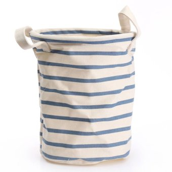 2pcs Cotton Linen Washing Laundry Hamper Storage Basket Organizer Sorter Bag Blue and White Stripes - intl